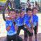 Cinco integrantes de la Escuela Ciclista, en una prueba en Totana